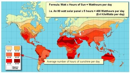 Average Sunlight Worldwide