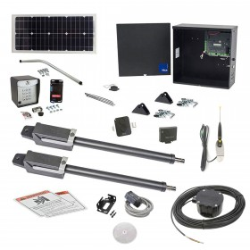 Nice Apollo TITAN12L1 Dual Swing Gate Opener Solar Package w/ 1050 Control Board, 10 Watt Solar Panel and Entry/Exit Controls