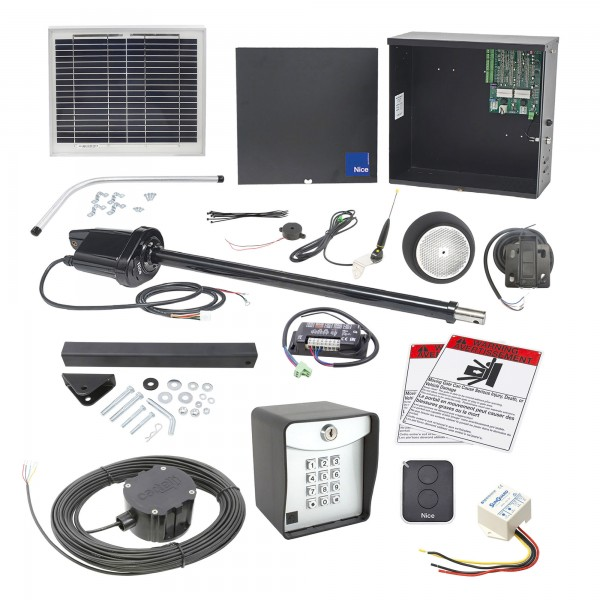 Nice Apollo 1500 Swing Gate Opener Solar Package w/ 10 Watt Solar Panel and Entry/Exit Controls