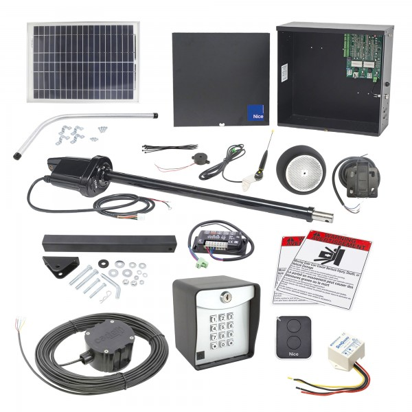Nice Apollo 1500 Swing Gate Opener Solar Package w/ 20 Solar Panel and Entry/Exit Controls
