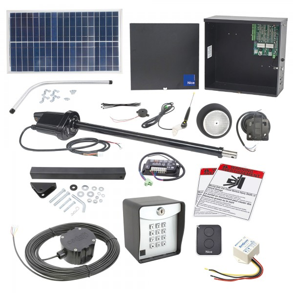 Nice Apollo 1500 Swing Gate Opener Solar Package w/ 30 Watt Solar Panel and Entry/Exit Controls