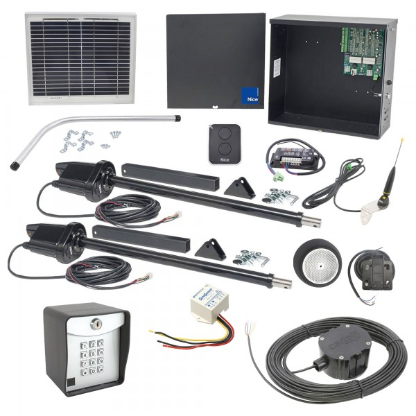 Nice Apollo 1600 Dual Swing Gate Opener Solar Package w/ 10 Watt Solar Panel and Entry/Exit Controls