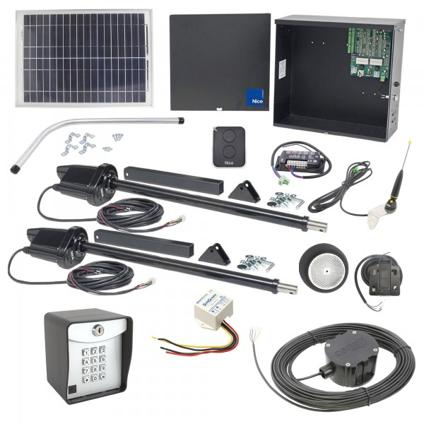 Nice Apollo 1600 Dual Swing Gate Opener Solar Package w/ 20 Watt Solar Panel and Entry/Exit Controls