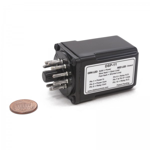 DSP11-LV Diablo Loop Detector (10-30 VAC/VDC Voltage) - penny shown for scale